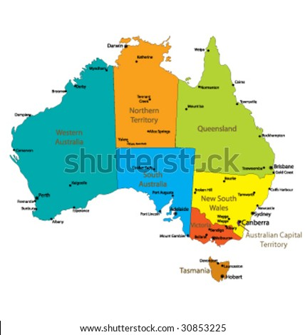 Map Of Australia with major Towns and Cities- Each state in its own group - stock vector