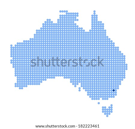 Map of Australia with stylized map of Australian Capital Territory made from blue dots (vector) - stock vector
