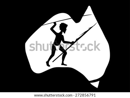 map of Australian  and a aboriginal man with a spear - stock vector