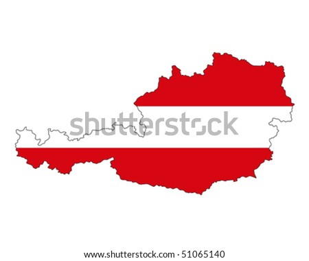 map of Austria filled with flag of the state