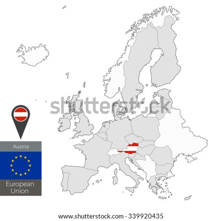 Map of Austria with an official flag. Location on European Union map