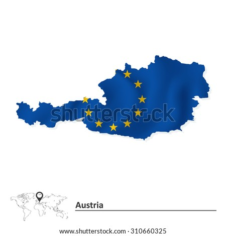 Map of Austria with European Union flag - vector illustration - stock vector