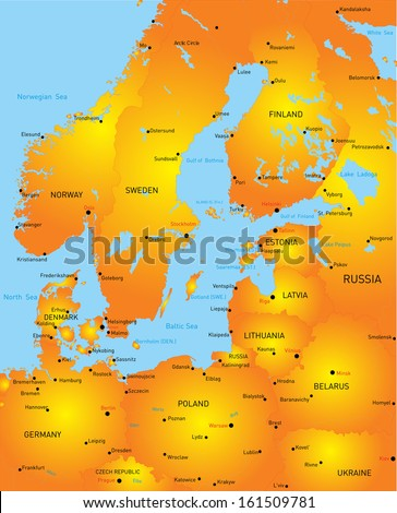 Map of Baltic region countries - stock vector