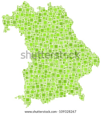 Map of Bavaria - German - in a mosaic of green squares. A number of 2554 are accurately inserted into the mosaic. White background.
