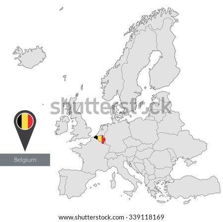 Map of Belgium with an official flag. Location in Europe - stock vector