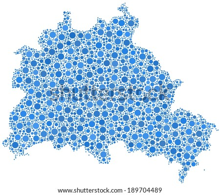 Map of Berlin State - Germany - in a mosaic of blue bubbles - stock vector