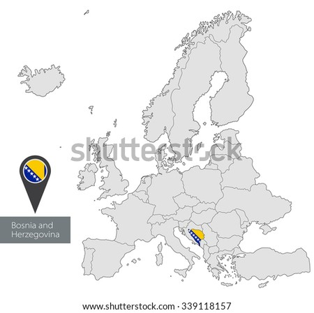 Map Bosnia Herzegovina Official Flag Location Stock Vector 339118157