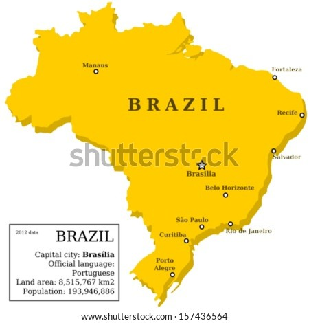 Map brazil country outline information box stock vector 157436564 map of brazil country outline with information box and 10 largest cities gumiabroncs Images