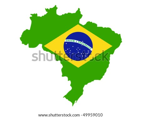 map of brazil country with flag - stock vector