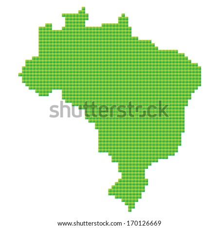 map of Brazil made of green pixels - stock vector