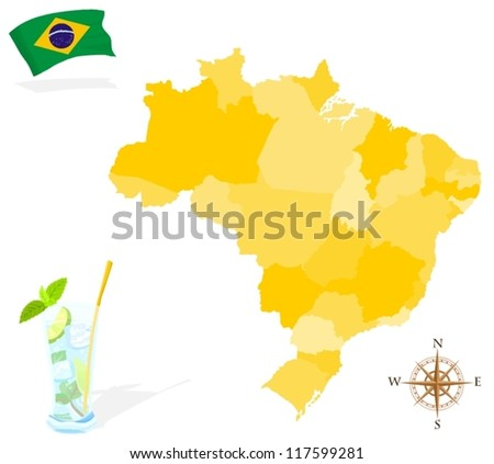 Map of Brazil, regions and states - stock vector