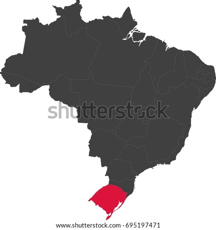 Map brazil split into individual states stock vector 695197471 map of brazil split into individual states highlighted state of rio grande do sul gumiabroncs Choice Image