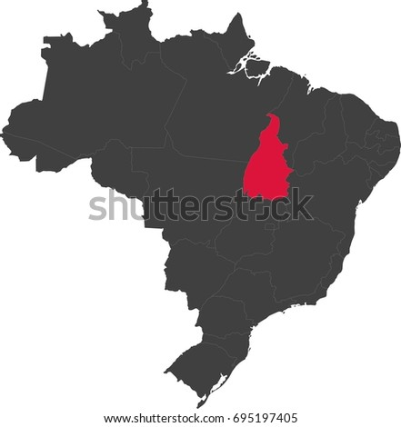 Map of Brazil split into individual states. Highlighted state of Tocantins.