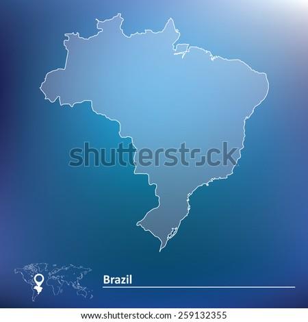 Map of Brazil - vector illustration - stock vector