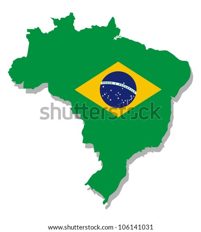 map of brazil with flag - stock vector