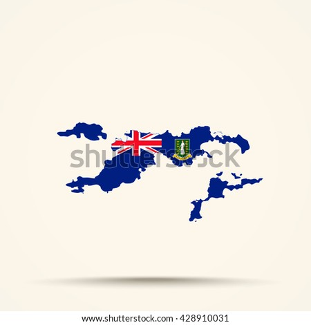 map of british virgin islands in british virgin islands flag colors