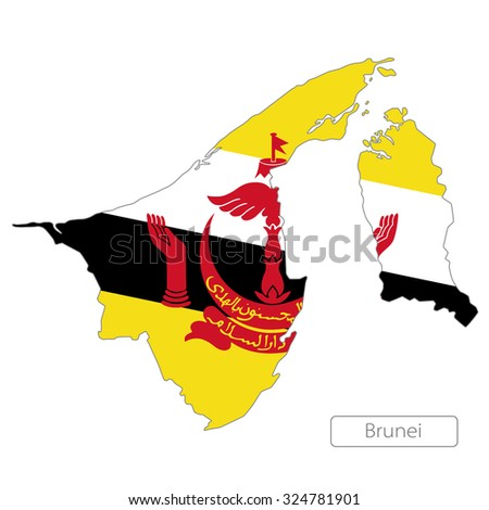map of Brunei with the flag - stock vector