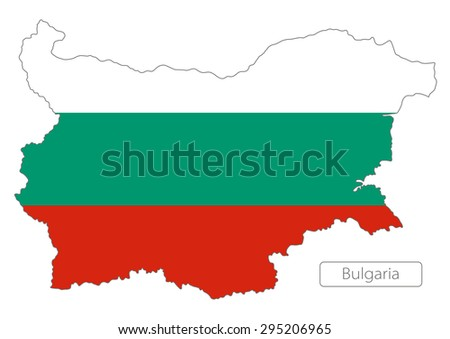 Map of Bulgaria with an official flag. Illustration on white background