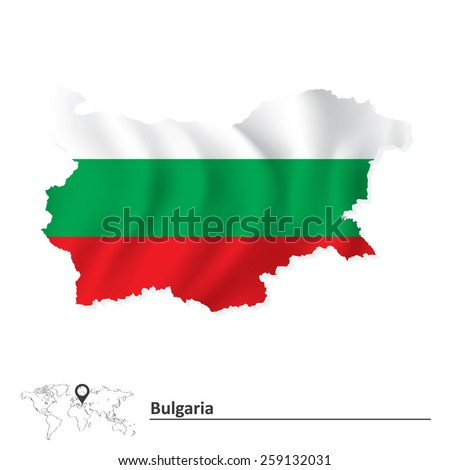 Map of Bulgaria with flag - vector illustration - stock vector