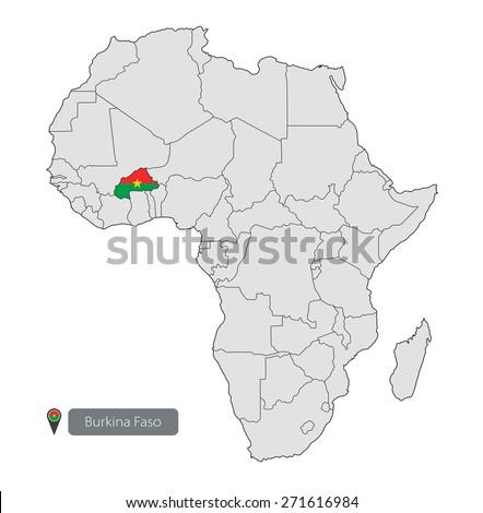 Map Burkina Faso Official Flag Location Stock Vector 271616984