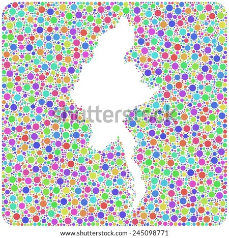 Map of Burma - Asia - in a mosaic of harlequin circles - stock vector