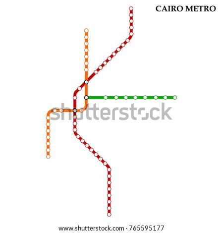 Map Cairo Metro Subway Template City Stock Vector 2018 765595177