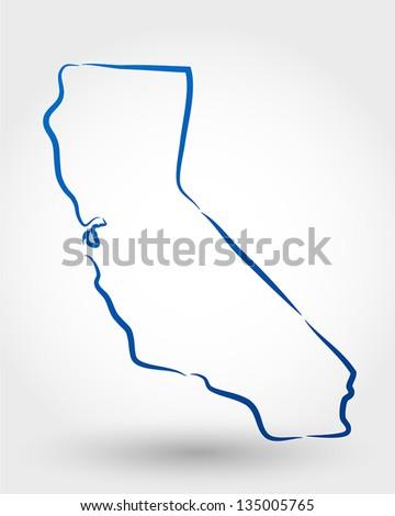 map of california. map concept - stock vector