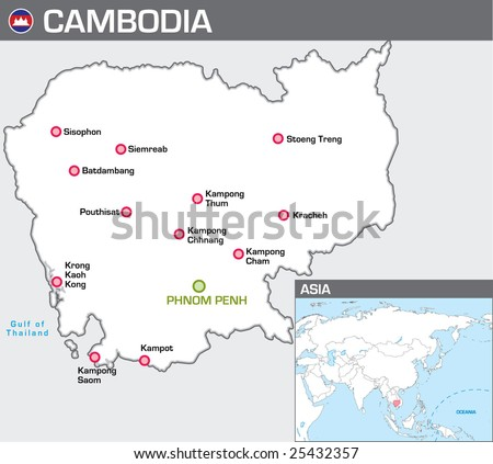 Map of Cambodia - stock vector