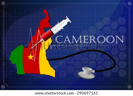 Map of Cameroon with Stethoscope and syringe.