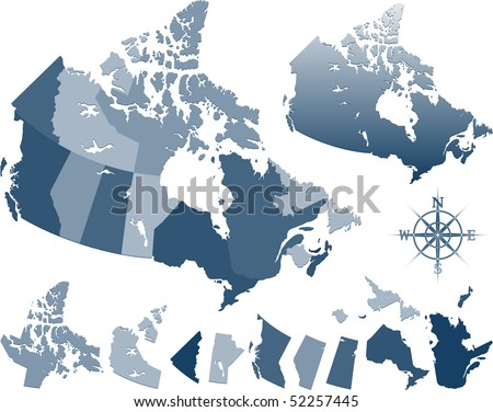 Map of Canada and provinces - stock vector