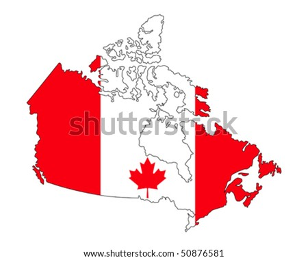 map of Canada filled with flag of the state - stock vector