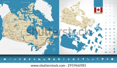 Map of Canada. Graphic set. Highly detailed vector illustration. Image contains:land contours,country and land names,city names,water objects,Canada flag,navigation icons,highways,railroads. - stock vector