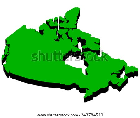 map of Canada in the amount of green on a white background  - stock vector