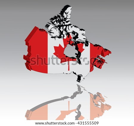 Map of Canada with flag 3D, silhouette, reflection, EPS10 vector - stock vector