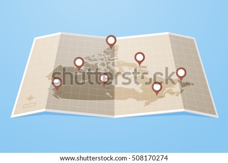 Map Canada Location Markers Vector Illustration Stock Vector