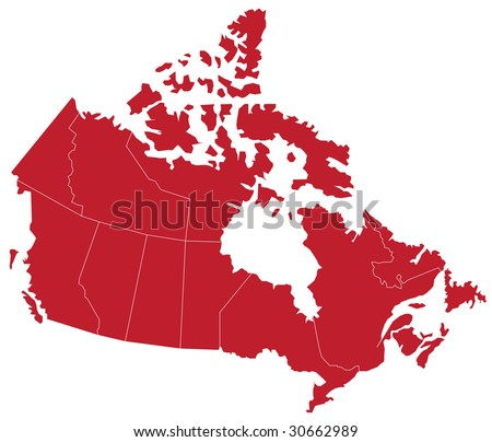 Map of CANADA with separable borders in vector art. (Sizable to any dimension) - You got ALL the provinces in one file - stock vector