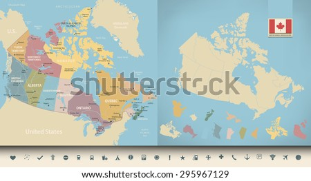 Map of Canada with vintage colors and navigation icon set. Highly detailed vector illustration. All layers are subscribed. - stock vector