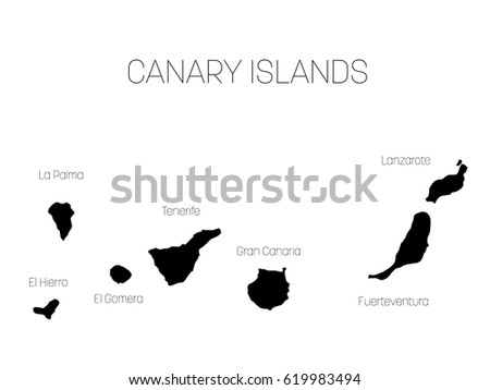 Map Canary Islands Spain Labels Each Stock Vector 2018 619983494