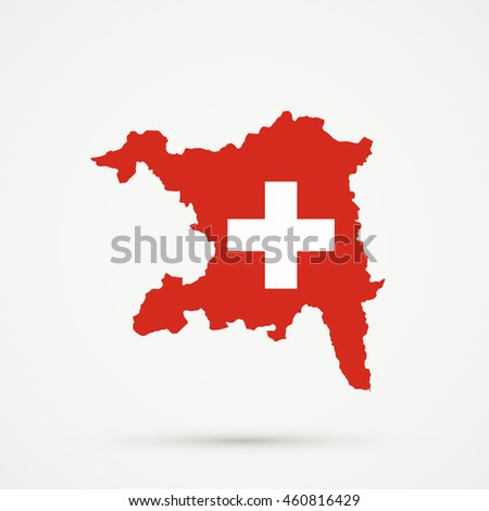 Map of canton (country subdivision) of Aargau, Switzerland in Switzerland flag colors