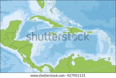 Map of Caribbean - stock vector