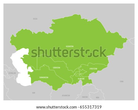 Turkmenistan region map stock images royalty free images map of central asia region with green highlighted kazakhstan kyrgyzstan tajikistan turkmenistan and sciox Image collections