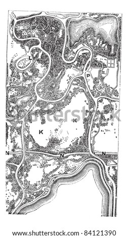 Map of Central Park, in Manhattan in New York City, New York, USA, vintage engraved illustration. Trousset encyclopedia (1886 - 1891). - stock vector