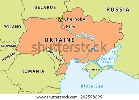 Map of Chernobyl disaster in Ukraine. Nuclear accident that occurred on 26 April 1986. Fully editable vector graphics. Ukraine has new borders, but Crimea can be easy switched on any color. - stock vector