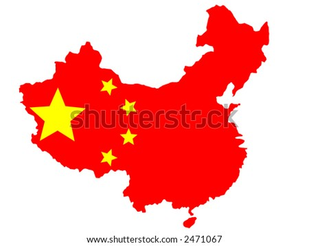 map of China and flag illustration - stock vector