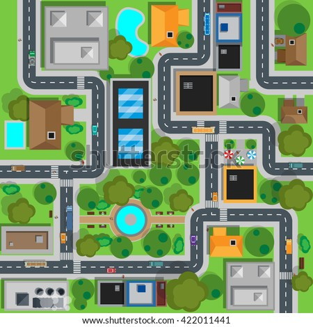 Map of city top view design flat. Map suburban settlement with private houses, narrow roads with cars and natural park design flat. Cars drive on sleeping residential district. Vector illustration - stock vector