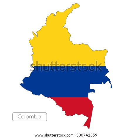 Map of Colombia with an official flag. South America. Illustration on white background