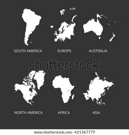Map of Continent. South America, North America, Asia, Australia, Europe maps. Vector illustration.