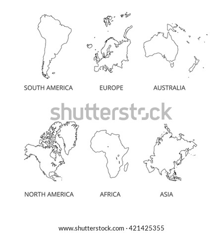 Map of Continental. South America, North America, Asia, Australia, Europe maps. Vector illustration. - stock vector