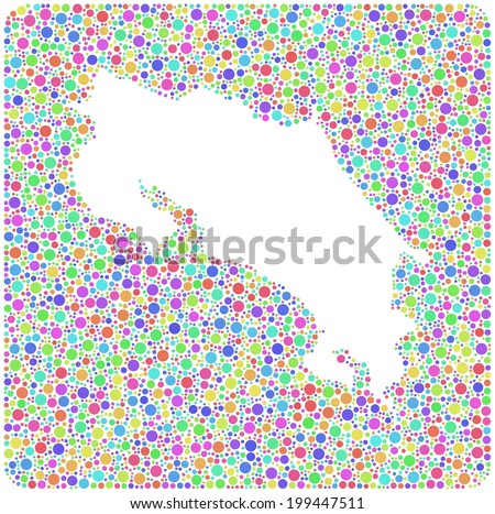 Map of Costa Rica - America -  into a square icon. Mosaic of harlequin bubbles