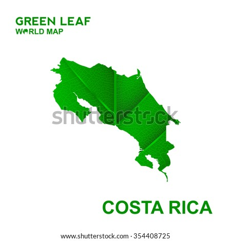 Map Of Costa Rica,Nature green leaf, vector illustration